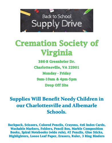 Cremation Society of Virginia - Charlottesville: School Supply Drive | by cremationsocietyofvirginia
