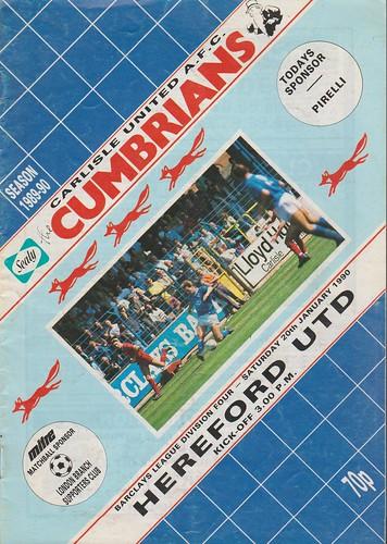 Carlisle United V Hereford 20-01-90 | by cumbriangroundhopper