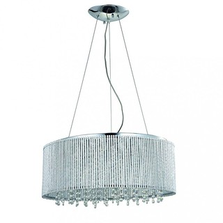 Crystal Chrome Round Twisted Aluminum Bar Spiral Shade Modern Glam Pendant Ceiling Light | by Lighting Must
