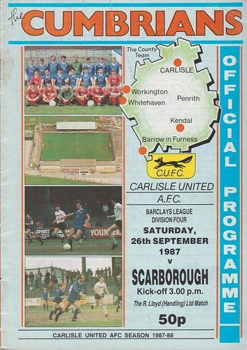 Carlisle United V Scarborugh 26-9-87 | by cumbriangroundhopper