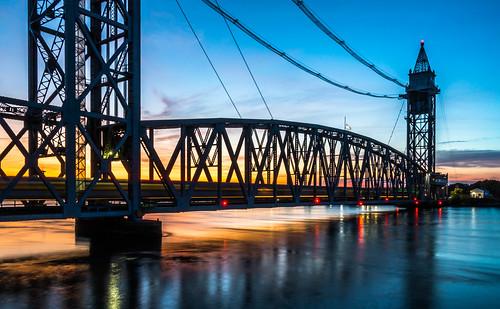 capecodcanalrailroadbridge capecod train capecodcanal bourne massachusetts sunset reflectionsinwater reflections amtrak