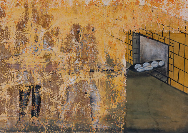 Old wall painting half erased depicting a baker putting breads in the oven, Huila Province, Chibia, Angola