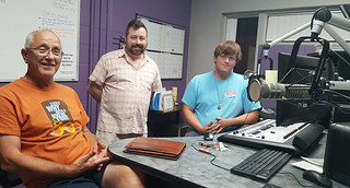 Fri, 09/21/2018 - 21:00 - WGCC Geezer Radio show with special guest Robert Conrad (center), director of the Richard Memorial Library, Geezer host Richard Beatty (left), and WGCC station manager Cody Catlin (right)