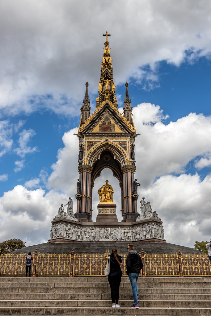 The Albert Memorial in Kensington Gardens is one of London's most ornate monuments. It commemorates the death of Prince Albert in 1861 of typhoid.