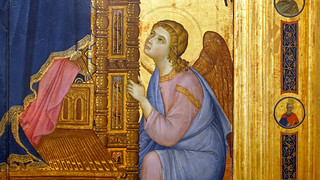 Duccio, Rucellai Madonna, detail with angel | by profzucker