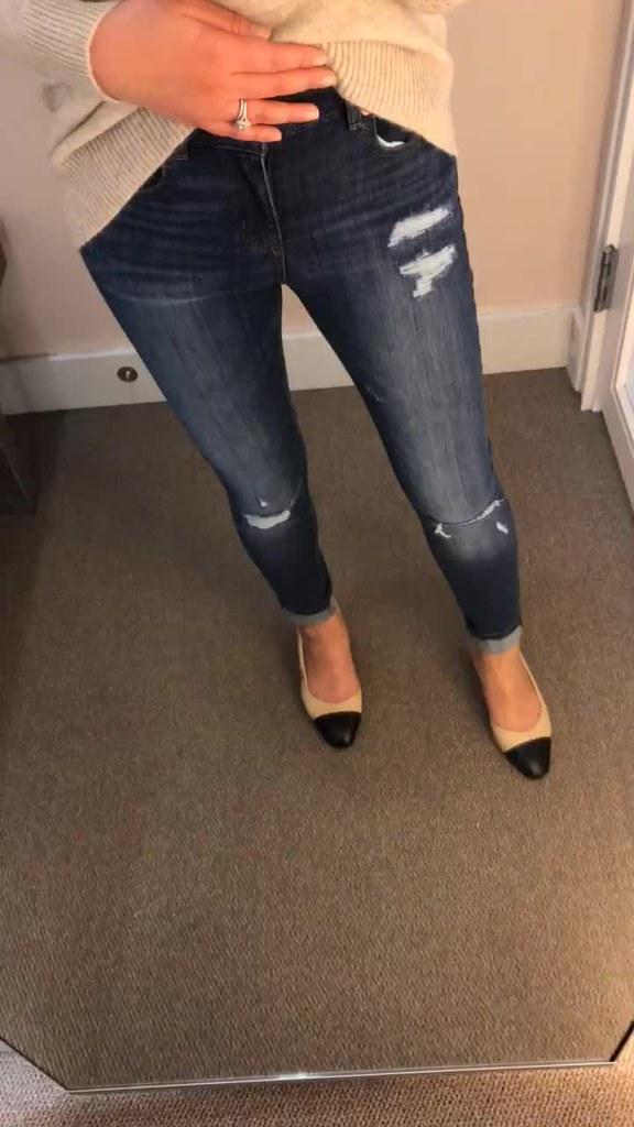 34b900d9a7067 LOFT Modern Destructed Slim Pocket Skinny Jeans in Mid Ind…