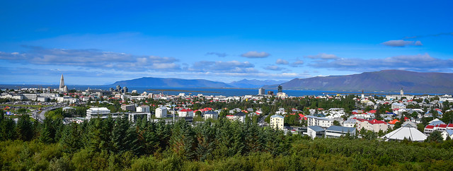 Panoramic view of Reykjavik from Observation Deck at the Perlan Museum - Reykjavík Iceland