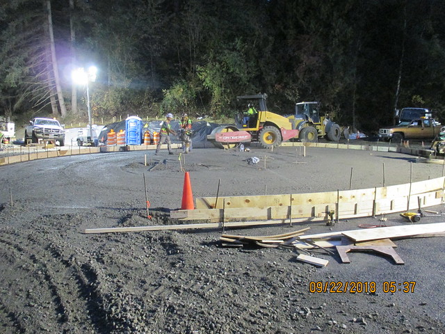 Preparing the center island at the new Larch Way roundabout