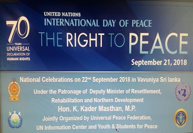 Sri Lanka-2018-09-22-International Day of Peace Celebrated in Sri Lanka