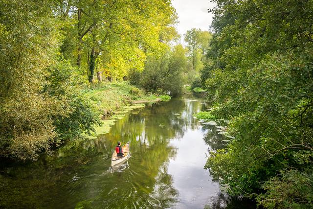 Canoeist on the Little Ouse near Santon Downham