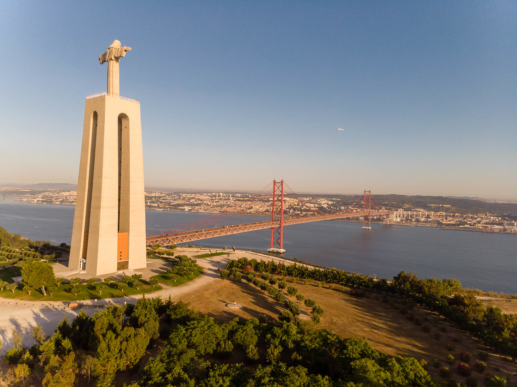 Aerial view drone shot from the side of the Cristo rei mon…   Flickr