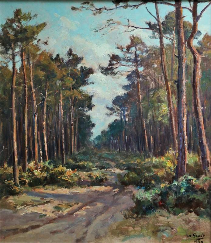 """Louis-Marius Gueit (1877-1956 Bordeaux)""""Chemin dans les Landes""""(1939)"""