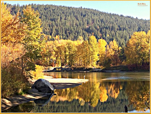 fall autumn colors leaves trees river water waterscape landscape waterscene reflection hills rocks nature wenatcheeriver waterfrontpark leavenworth washington fallcolors picmonkey