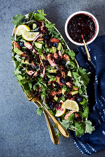 Kale Salad with Roasted Salmon and Warm Blueberry Balsamic Vinaigrette {Paleo, Keto, Gluten-free} | by Tasty Yummies