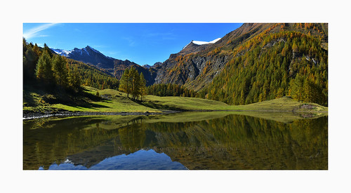 bouducol prali germanasca piedmont reflection water fall autumn moutains alps colors nikon7200 shot panoramic landscape mirror trees alberi
