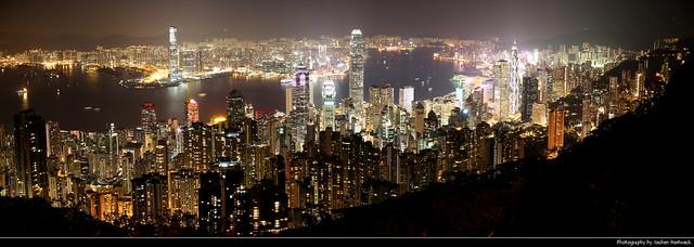 Panoramic view from Lugard Road at Night, Hong Kong, China