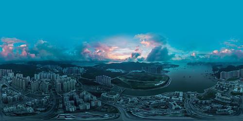 city hk hongkong sunrise pano panorama