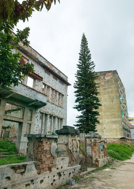Building riddled with bullet impacts from civil war, Huambo Province, Huambo, Angola