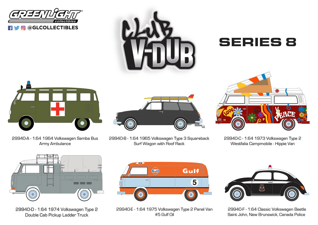 Greenlight 1:64 Club V-Dub Series 8 1964 VOLKSWAGEN SAMBA BUS Army Ambulance