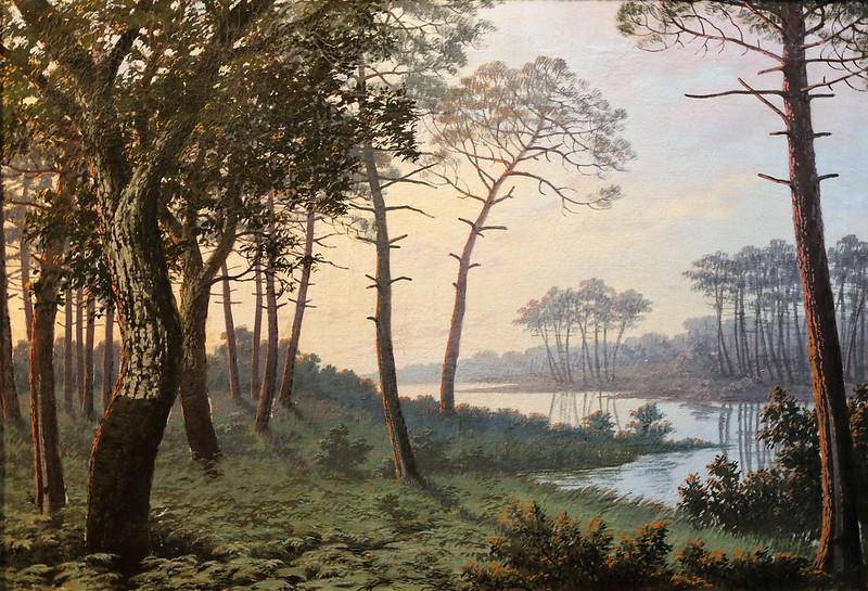 """Jean-Henri Tayan (1855 -1931 Mont-de-Marsan) """"Lac dans les Landes"""""""