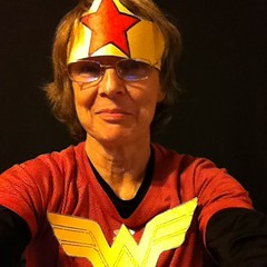 """When your pilates teacher says you should come in a costume and all you have is a red shirt, but you google """"girl superhero red shirt"""" and have yellow paper..."""