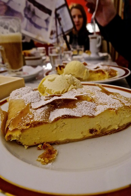 Meet Topfenstrudel. No seriously. The ultimate Austrian delicacy. The King of European desserts. Cafe Sacher in Innsbruck's Hofburg.  For more deliberate thought and inspired commentary on this cheesecake to end all cheesecakes, check out my blog post htt