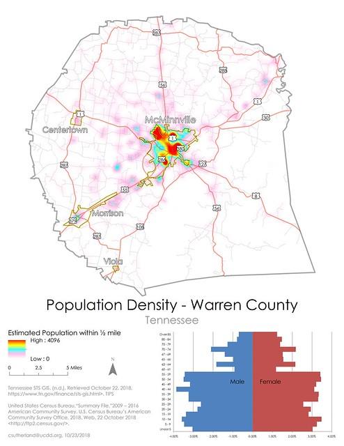 Population Density of Warren County, Tennessee