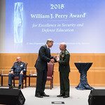 Thu, 09/20/2018 - 14:35 - On Thursday, September 20, 2018, the William J. Perry Center for Hemispheric Defense Studies honored General Salvador Cienfuegos Zepeda, Secretary of National Defense of Mexico, and Escola Superior de Guerra (ESG), National War College of Brazil, with the 2018 William J. Perry Award for Excellence in Security and Defense Education. Named after the Center's founder, former U.S. Secretary of Defense Dr. William J. Perry, the Perry Award is presented annually to individuals who and institutions that have made significant contributions in the fields of security and defense education. From the many nominations received, awardees are selected for achievements in promoting education, research, and knowledge-sharing in defense and security issues in the Western Hemisphere. Awardees' contributions to their respective fields further democratic security and defense in the Americas and, in so doing, embody the highest ideals of the Center and the values embodied by the Perry Award.