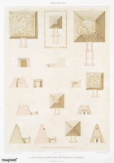 The Pyramids of Meroe (Plans, sections and elevations) from Histoire de l'art égyptien (1878) by Émile Prisse d'Avennes (1807-1879).Digitally enhanced by rawpixel.