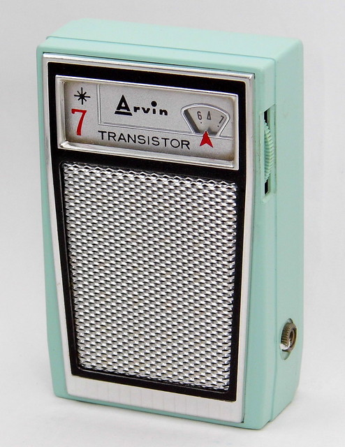 Vintage Arvin Mighty Mite Transistor Radio, Model No. 61R35 (Ice Blue), AM Band, 7 Transistors, Made In USA, Circa 1961