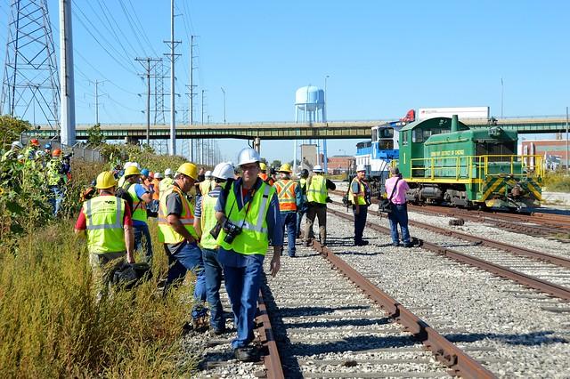 WGRF folks swarm about in a locomotive frenzy, Stickney Illinois