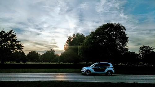 cameraphone droid motoz cemetery street sunsetlight sky clouds