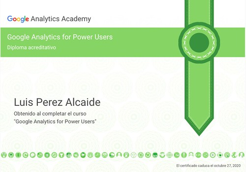 "Certificado ""Google Analytics for Power Users"" Analytics Academy (2018) 