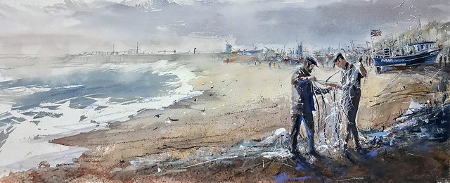 The Stade Hastings, watercolour