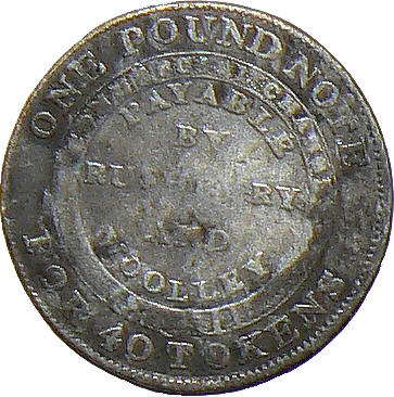Provincial Token - Silver Sixpence - by Rushbury & Woolley of Bilston, 1811 (Reverse) (20mm dia)