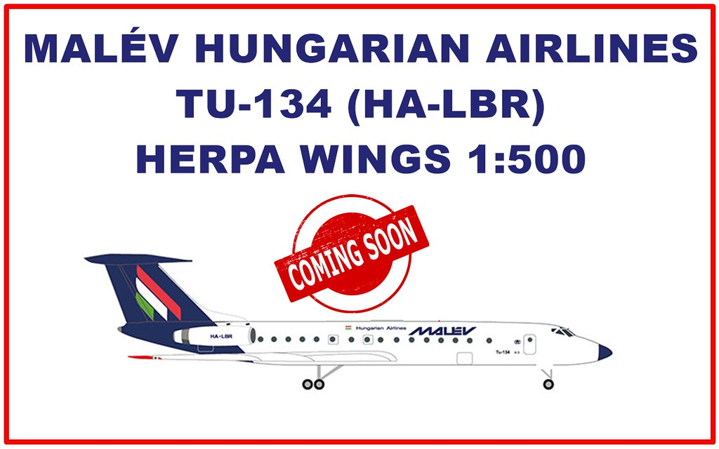 Herpa Wings 1:500 532914 Malév Hungarian Airlines tupolev tu-134a