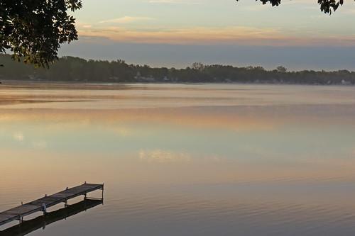 water sun lake michigan orange sunrise fall october sky clouds today morning reflection steam fog whitmorelake