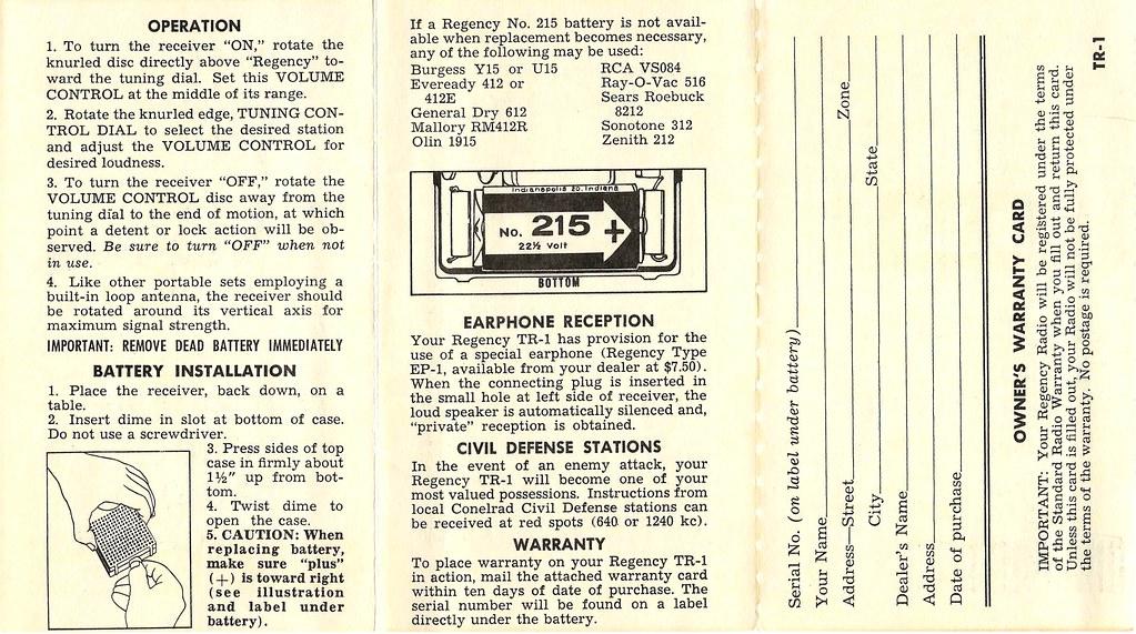 Vintage Instruction Brochure For The Regency TR-1 Transist… | Flickr