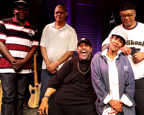 Big Al Carson and his band with WWOZ's Dee Lindsey - 10.25.18. Photo by Bill Sasser.