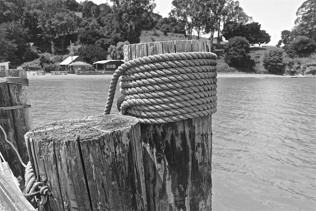 From China Camp Village Pier in Monochrome