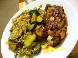 zucchini curry and tandoori chicken