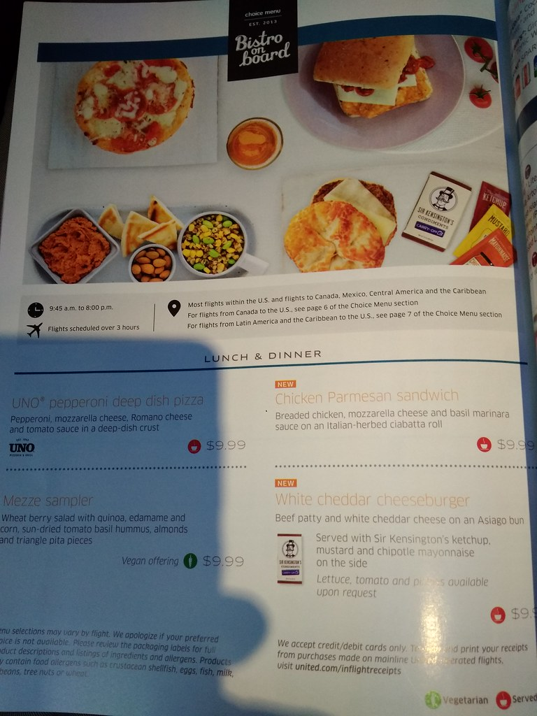United Airlines Economy Class In-flight Menu