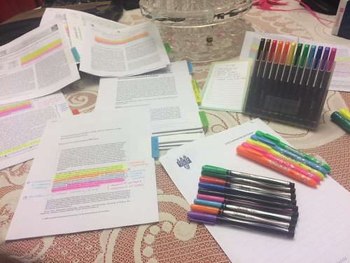 Reading, scribbling and highlighting