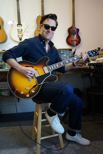 My good friend and client Nick Waterhouse enjoying his new pickups and flatwound strings