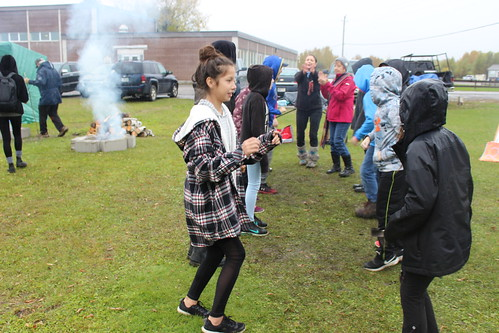 <p>Students learn traditional Ojibwe dance at Fall Harvest</p>