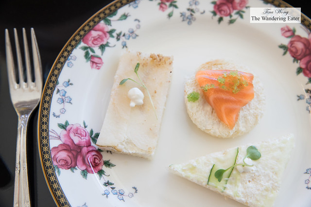 Asian Pear with Bleu Cheese Mousse and Candy Walnut Dust on Wheat Bread, Smoked Salmon with Caviar, Tarragon, and Creme Fraîche on White Bread