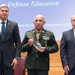 Thu, 09/20/2018 - 14:34 - On Thursday, September 20, 2018, the William J. Perry Center for Hemispheric Defense Studies honored General Salvador Cienfuegos Zepeda, Secretary of National Defense of Mexico, and Escola Superior de Guerra (ESG), National War College of Brazil, with the 2018 William J. Perry Award for Excellence in Security and Defense Education. Named after the Center's founder, former U.S. Secretary of Defense Dr. William J. Perry, the Perry Award is presented annually to individuals who and institutions that have made significant contributions in the fields of security and defense education. From the many nominations received, awardees are selected for achievements in promoting education, research, and knowledge-sharing in defense and security issues in the Western Hemisphere. Awardees' contributions to their respective fields further democratic security and defense in the Americas and, in so doing, embody the highest ideals of the Center and the values embodied by the Perry Award.