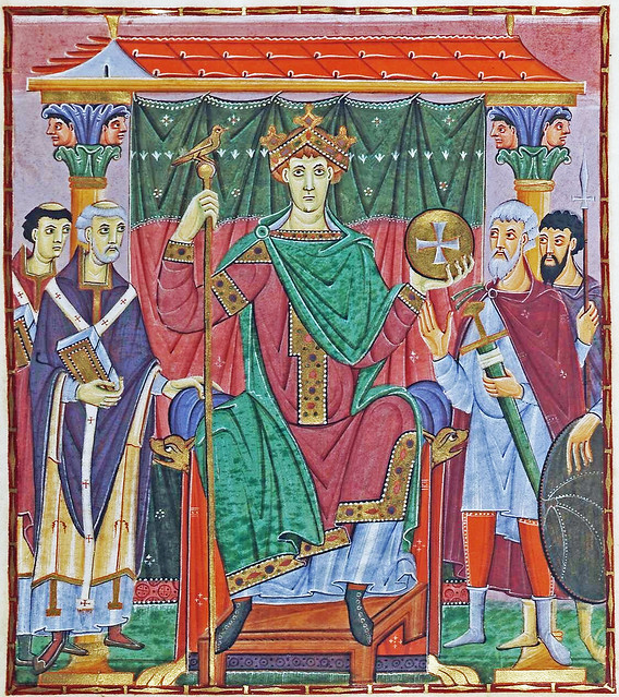 Holy Roman Emperor Otto III. enthroned and flanked by two church & two military dignities