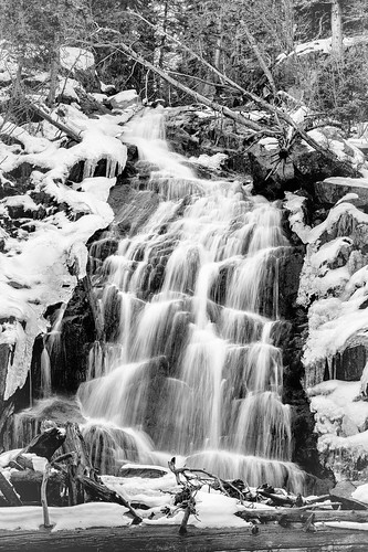 RMNP - Fern Lake - Fern Falls and the Snow - B and W | by ImNotDedYet