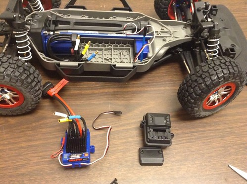 Removed ESC (left) and wire box (right).